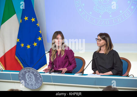 Rome,17 November 2017. Maria Elena Boschi and Lucia Annibali during the Presentation of the Campaign for the National - Stock Photo