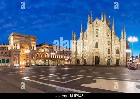 Panorama of night Piazza del Duomo in Milan, Italy - Stock Photo