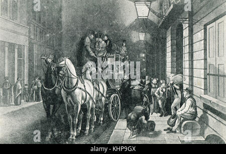 Mail coach leaving the General Post Office, Lombard Street, London, England in olden times - Stock Photo
