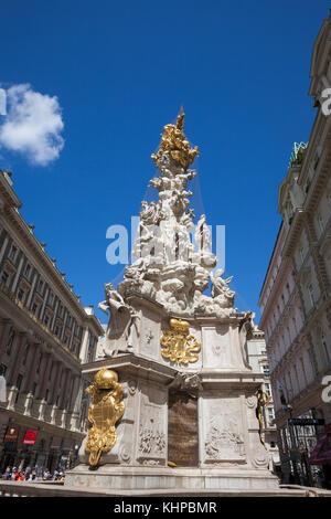 Austria, Vienna, Wiener Dreifaltigkeitssaule or Pestsaule - Holy Trinity or Plague Column, Baroque monument from - Stock Photo