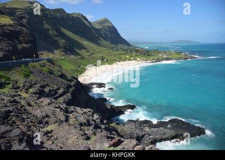 View of Sandy Beach from Halona Blowhole - Oahu, Hawaii - Stock Photo