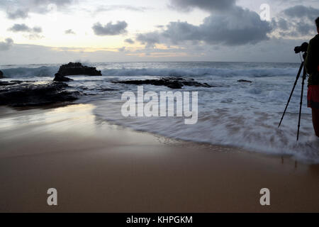 Sunrise over Sandy Beach - Oahu, Hawaii - Stock Photo