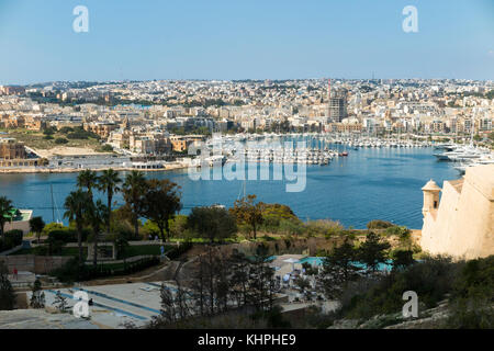 Looking over Marsamxett Harbour to Ta' Xbiex in the distance on the left, & Manoel Island & Manoel Yacht Marina - Stock Photo