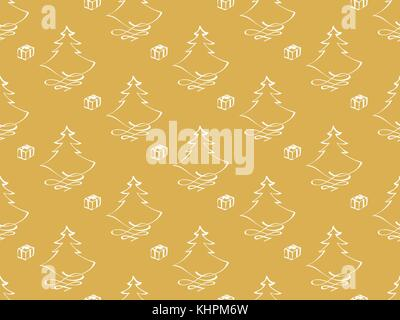 Hand drawn vector christmas themes with tree and gift, isolated on golden background - seamless pattern - Stock Photo