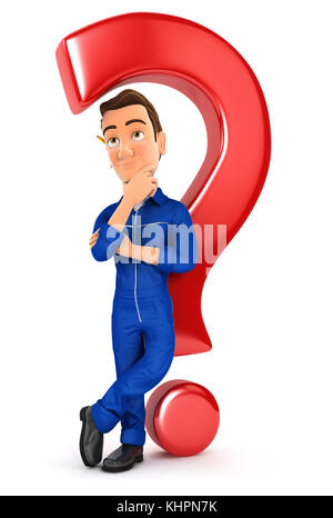 3d mechanic leaning back against question mark, illustration with isolated white background - Stock Photo