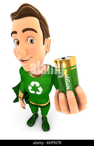 3d green hero holding recyclable battery, illustration with isolated white background - Stock Photo