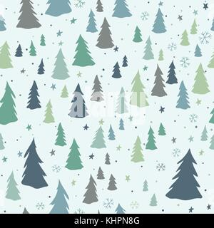 Christmas seamless pattern with trees, snowflakes and stars - Stock Photo
