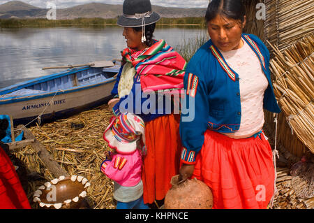 Uros Island, Lake Titicaca, peru, South America. Two women dressed in typical regional costumes on one of the Uros - Stock Photo