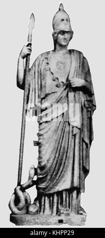 A 1920's image of a reproduction bronze statue of Athena, Goddess of wisdom, craft and war (named Pallas, Polias - Stock Photo