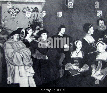 Sir Thomas More (1478-1535) with his children and relatives - from a  painting commissioned by his relatives - He - Stock Photo