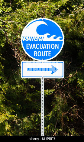 Evacuation Route Highway sign in Vancouver Island - Stock Photo
