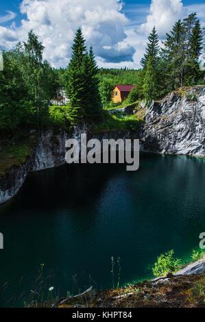 Famous beautiful marble quarry Ruskeala, Karelia, Russia - Stock Photo