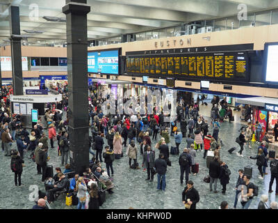View of the concourse at Euston Station in London - Stock Photo