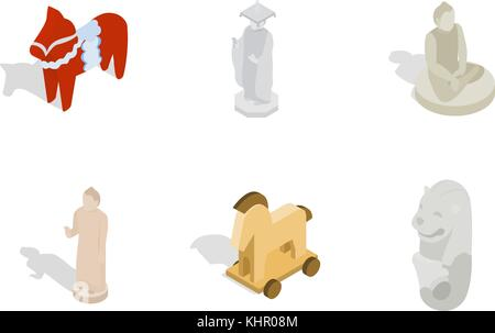 Statue icon set, isometric style - Stock Photo