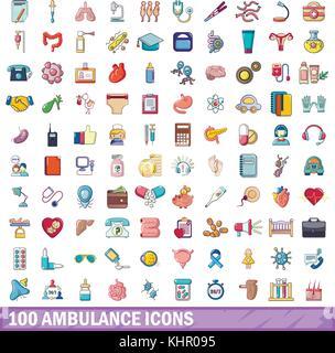 100 ambulance icons set, cartoon style  - Stock Photo