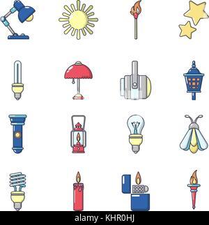 Light source icons set, cartoon style - Stock Photo