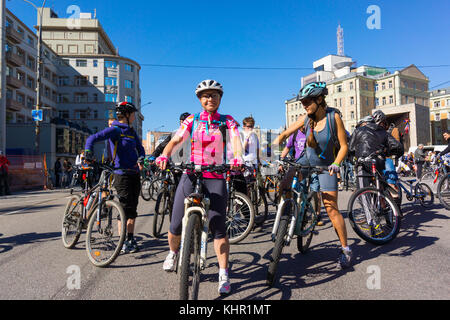 Bike Parade in Moscow 2014 - Stock Photo