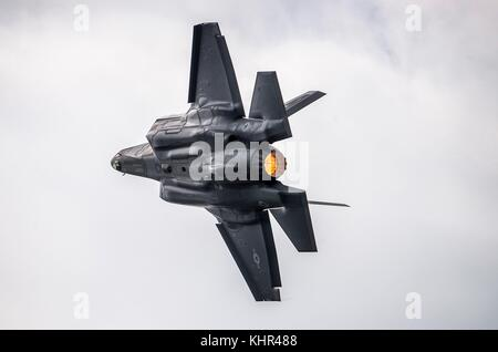 A U.S. Air Force F-35 Lightning II stealth fighter aircraft flies during the Joint Base San Antonio Air Show and - Stock Photo
