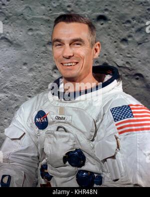 Official portrait of NASA Apollo 10 manned lunar orbital mission prime crew astronaut Gene Cernan during pre-launch - Stock Photo