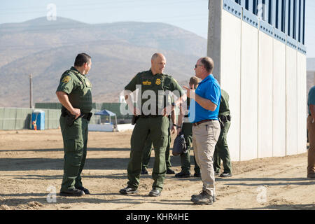 U.S. Customs and Border Protection Acting Deputy Commissioner Ronald Vitiello visits prototypes of the U.S.-Mexico - Stock Photo