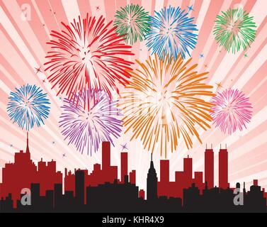 vector illustration of fireworks over a city - Stock Photo