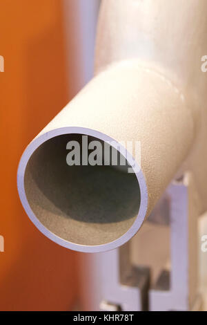 Various elements of metal pipelines for industrial use - Stock Photo