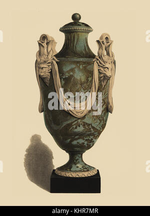 Large Vase In Crystalline Agate Decorated With Animal Heads