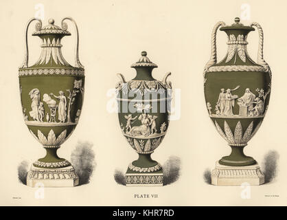 Three Vases Showing Reliefs By Lady Templeton Venus Bound By Putti