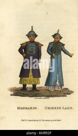 Male and female Mandarins (magistrates) in summer dress, imperial court of China. Embroidered square on their tunic - Stock Photo