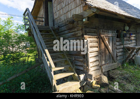This scene is in the Carpathian Mountains in Maramures County in Romania - Stock Photo