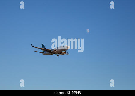 Vancouver International Airport, British Columbia, Canada - September 11, 2016 - Westjet Airline Jet Airplane on - Stock Photo