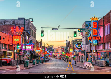 MEMPHIS, TENNESSEE - AUGUST 25, 2017: Blues Clubs on historic Beale Street at twilight. - Stock Photo