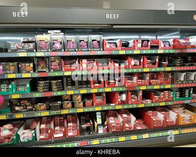 Ennis, Ireland - Nov 17th, 2017:  Aldi Store in Ennis County Clare, Ireland. Selection of various Irish beef produce - Stock Photo