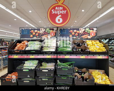 Ennis, Ireland - Nov 17th, 2017:  Aldi Store in Ennis County Clare, Ireland. Selection of various fresh raw vegetables - Stock Photo