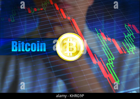 Bitcoin volatility concept. Rapid change, falling bitcoin price graph. Concept image, invest risk in bitcoin and - Stock Photo