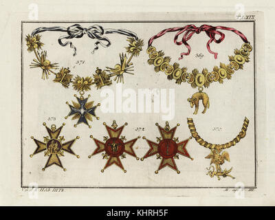 Orders of Chivalry: chain of the Order of the Golden Fleece 369, chain of the Order of Saint Michael 370, chain - Stock Photo