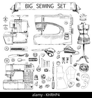 Hand Drawn Sketch big sewing Set - Stock Photo