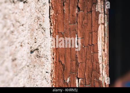 Texture Of Crumbling Brown Paint On Edge Of Old Door - Stock Photo
