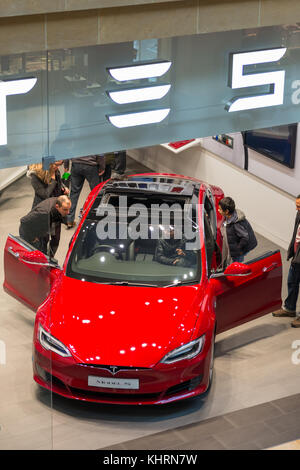 The Tesla Model S Electric car at the showroom in the Grand Arcade shopping Mall, Cambridge, England, UK. - Stock Photo