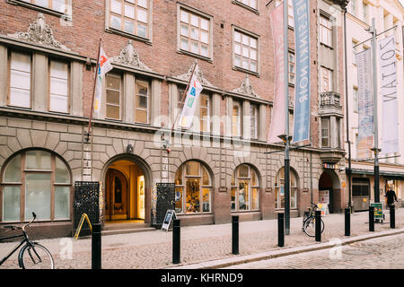 Helsinki, Finland - December 7, 2016: Entrance Door To The Amos Anderson Art Museum. It is the largest private art - Stock Photo