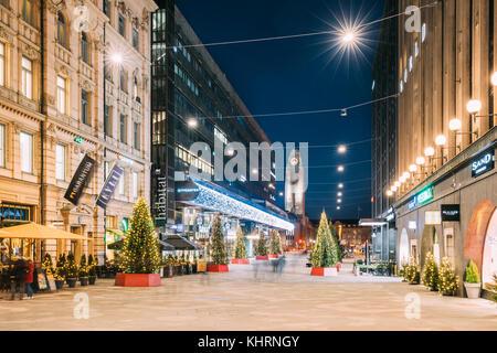 Helsinki, Finland - December 6, 2016: Night View Of Keskuskatu Street In Evening Christmas New Year Xmas Festive - Stock Photo