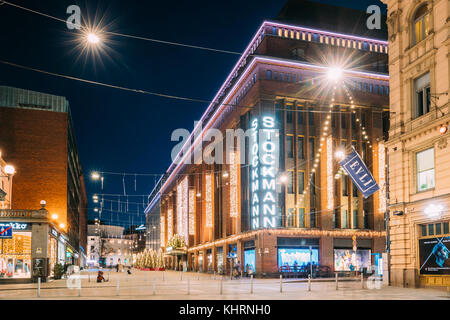 Helsinki, Finland - December 6, 2016: Building Of Stockmann Department Store On Keskuskatu Street In Evening Or - Stock Photo