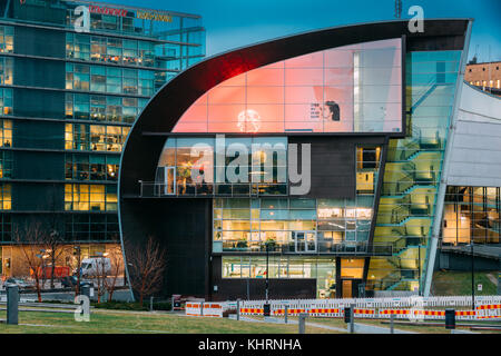 Helsinki, Finland - December 7, 2016: Evening Night View Of Kiasma Contemporary Art Museum. The Museum Exhibits - Stock Photo