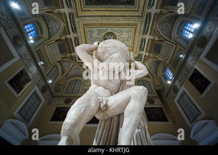 Naples. Italy. Atlas Farnese sculpture, 2nd century A.D. Museo Archeologico Nazionale di Napoli. Naples National - Stock Photo