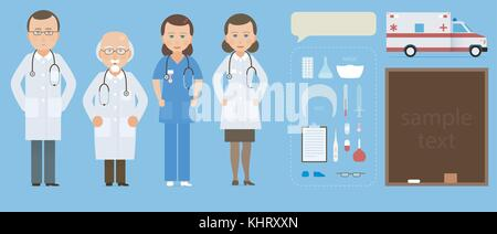 Medicine set with doctor and nurses in flat style isolated on blue background. Practitioner young doctors man and - Stock Photo