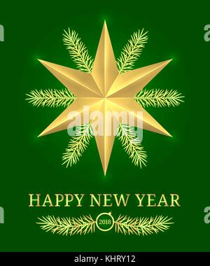 Happy New Year 2018. Vector Holiday Banner with New Year Greeting in Golden and Green Color. Golden Shining Star, - Stock Photo