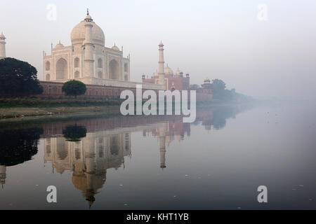 Morning reflection of Taj Mahal in Yamuna river, UNESCO World Heritage Site, Agra, Uttar Pradesh, India, Asia - Stock Photo