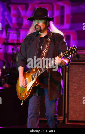 POMPANO BEACH FL - FEBRUARY 10: Gary Rossington of Lynyrd Skynyrd performs at The Pompano Beach Amphitheater on - Stock Photo