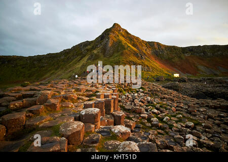 winter overcast evening at the Giants Causeway county antrim northern ireland uk - Stock Photo