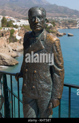 Bronze life-size statue of King Alfonso XII (1857-85), king of Spain from 1874 to 1885, Nerja, Spain - Stock Photo